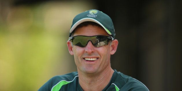 DARWIN, AUSTRALIA - JULY 22: Cricket Australia consultant coach Mike Hussey looks on during the Quadrangular...