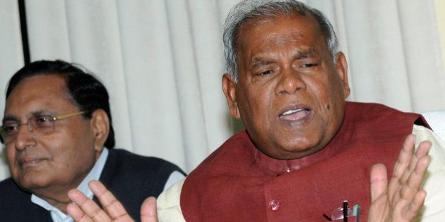 PATNA, INDIA - FEBRUARY 13: Bihar Chief Minister Jitan Ram Manjhi addressing the media at his residence...