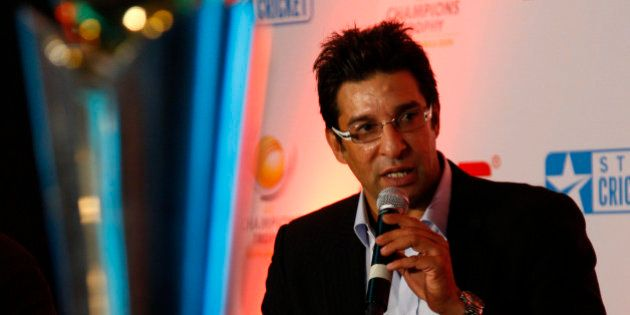 Former Pakistani cricketer Wasim Akram talks about the upcoming ICC Champions Trophy, in New Delhi, India,...