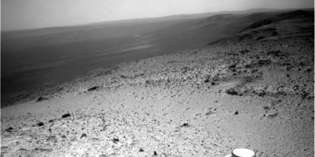 This image sent by NASA's Opportunity rover on Wednesday, Jan. 7, 2015 shows a view from atop a Martian...