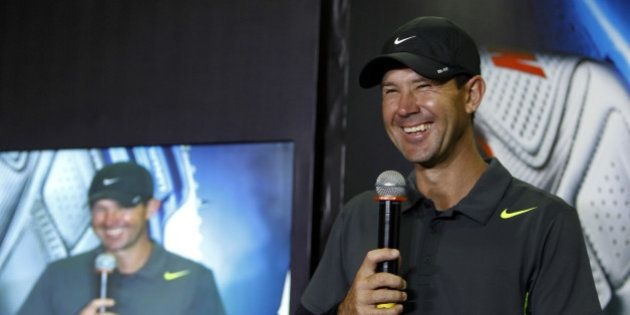 Former Australian cricketer Ricky Ponting smiles as he speaks during the launch of the new range of Nike...