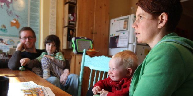 This May 7, 2011 photo shows parents Kathy Witterick, 38, right, and David Stocker, 39, left, as they...