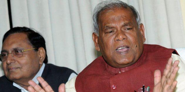 PATNA, INDIA - FEBRUARY 13: Bihar Chief Minister Jitan Ram Manjhi addressing the media at his residence...