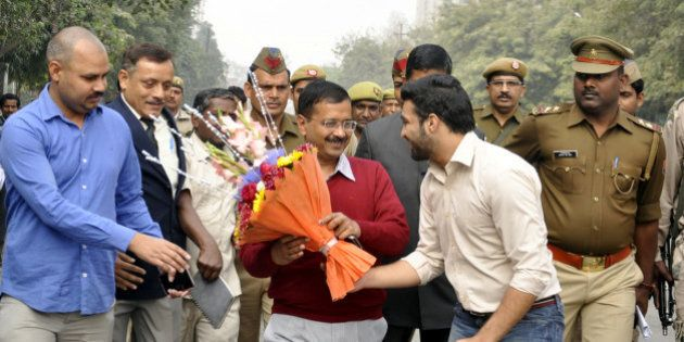 GHAZIABAD, INDIA - FEBRUARY 19: AAP leader and Delhi Chief Minister Arvind Kejriwal arrives for a meeting...