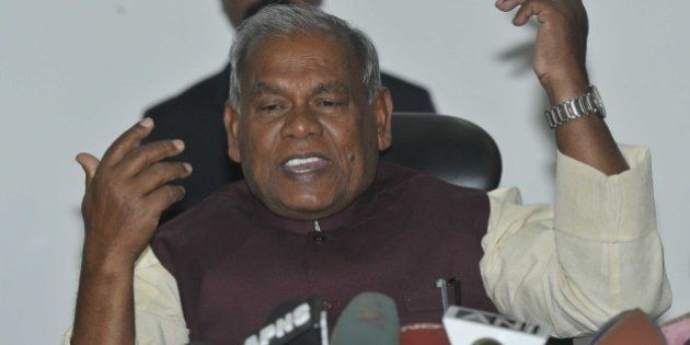 NEW DELHI, INDIA - FEBRUARY 8: Bihar Chief Minister Jitan Ram Manjhi hold a press conference after meeting...