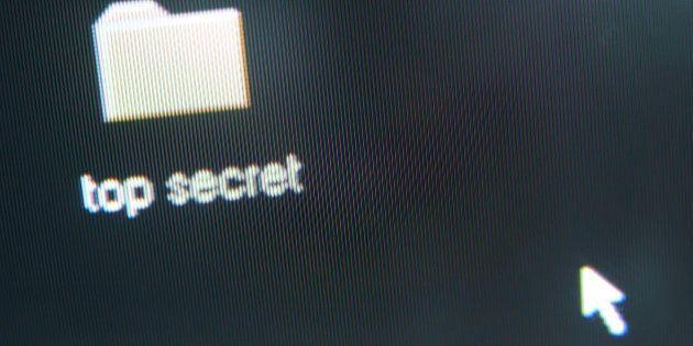 Top secret folder icon on computer