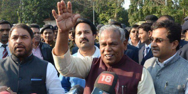 PATNA, INDIA - FEBRUARY 9: Bihar Chief Minister Jitan Ram Manjhi addresses the media after meeting Governor...