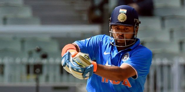 India's Suresh Raina hits a pull shot against Australia during their One Day International cricket match...
