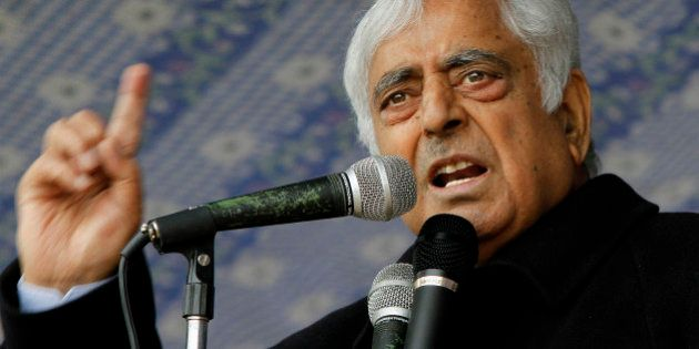 Peoples Democratic Party (PDP) leader Mufti Mohammad Sayeed speaks during an election campaign rally...