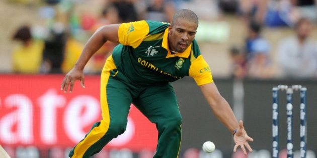 FILE - In this Sunday Feb. 15, 2015, file photo, South African bowler Vernon Philander fields the ball...