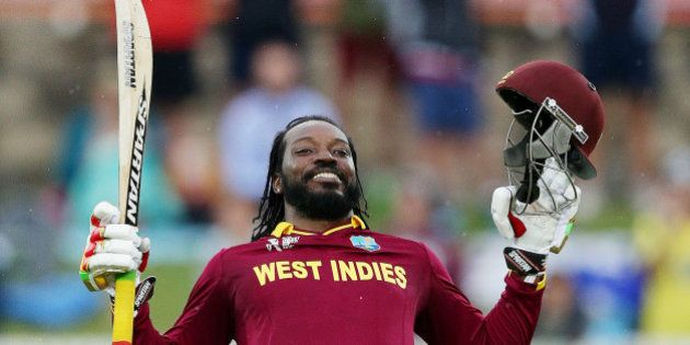 West Indies batsman Chris Gayle celebrates after scoring a double century during their Cricket World...