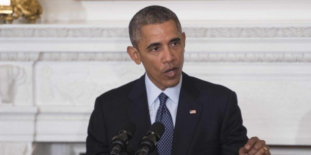 US President Barack Obama speaks during a meeting of the National Governors Association at the White...