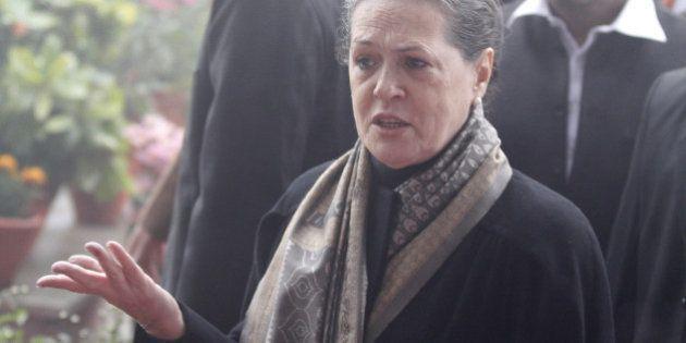 NEW DELHI, INDIA - DECEMBER 28: Congress President Sonia Gandhi during Congress Partys 130th foundation...