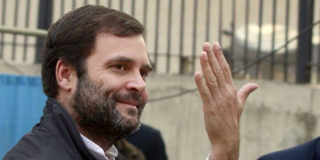 NEW DELHI, INDIA - FEBRUARY 7: Congress vice president Rahul Gandhi shows his ink-marked finger after...