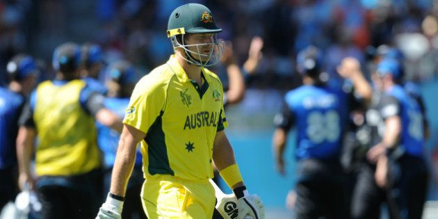 Australia's Shane Watson walks from the field after he was dismissed for 23 runs during their Cricket...
