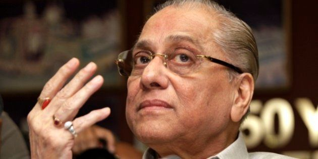 FILE - In this Monday, June 3, 2013 file photo, Jagmohan Dalmiya gestures during a press conference in...
