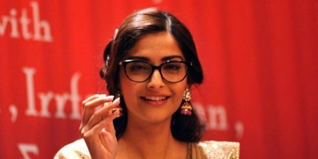 Indian Bollywood actress Sonam Kapoor attends the launch of the 'Ek Maheena Nazmon Ka' poetry compilation...