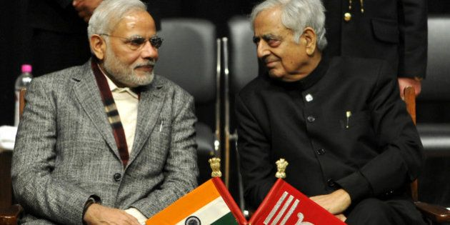 JAMMU, INDIA - MARCH 1: Prime Minister Narendra Modi along with Chief Minister Mufti Mohammad Sayeed...