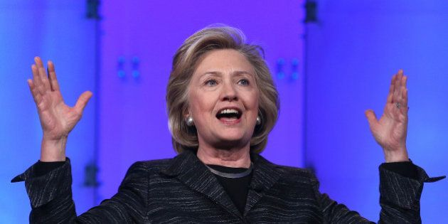 SANTA CLARA, CA - FEBRUARY 24: Former U.S. Secretary of State Hillary Clinton delivers a keynote address...