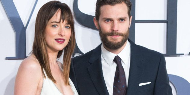 LONDON, ENGLAND - FEBRUARY 12: Jamie Dornan and Dakota Johnson attend the UK Premiere of 'Fifty Shades...