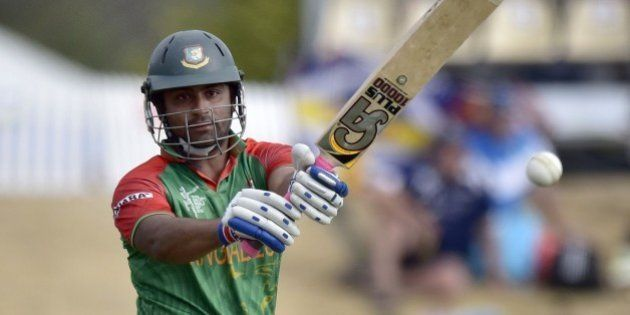 Bangladesh batsman Tamim Iqbal plays a shot during the Pool A 2015 Cricket World Cup match between Bangladesh...