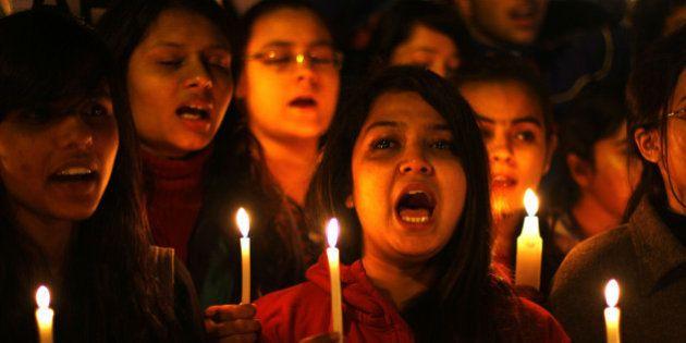 NEW DELHI, INDIA - DECEMBER 16: Akhil Bharatiya Vidyarthi Parishad (ABVP) activists take part in a candle...