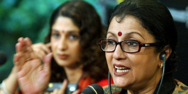 Indian director Aparna Sen, right, talks about her