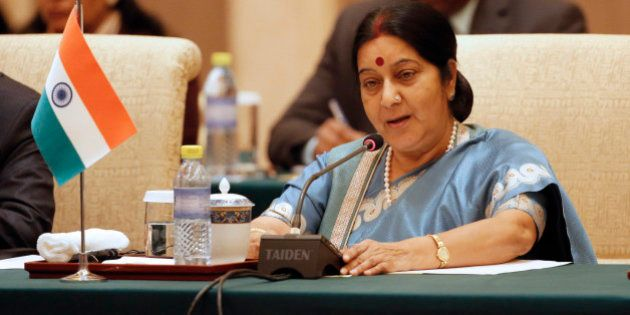 Indian Foreign Minister Sushma Swaraj speaks during the meeting of the Foreign Ministers of China, Russia...