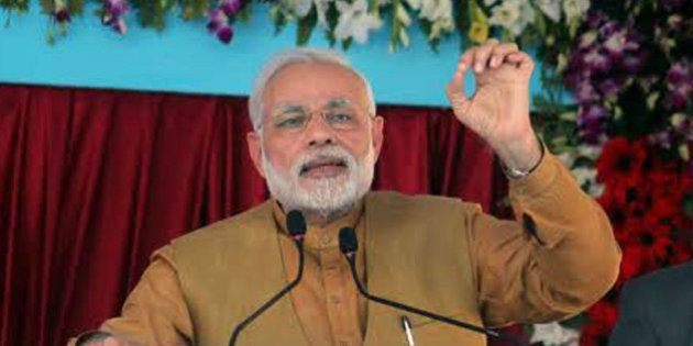 KHANDWA, INDIA - MARCH 5: Prime Minister Narendra Modi speaks at an event held to mark the foundation...