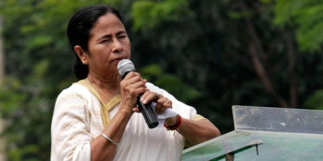 West Bengal state Chief Minister and Trinamul Congress leader Mamata Banerjee addresses a rally of students...