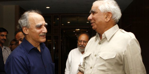 NEW DELHI, INDIA – JULY 22: Arun Shourie (left) with BJP leader Jaswant Singh during the launch of...