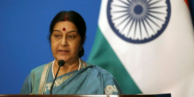 Indian Foreign Minister Sushma Swaraj speaks during a joint press conference with Russian Foreign Minister...