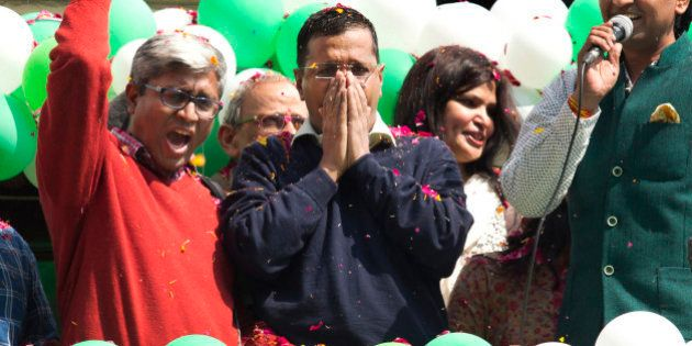 FILE - In this Tuesday, Feb. 10, 2015 file photo, Aam Aadmi Party, or Common Man's Party leader Arvind...