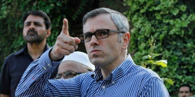Jammu and Kashmir state Chief Minister and leader of the National Conference party Omar Abdullah speaks...