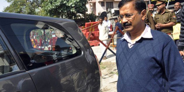GHAZIABAD, INDIA - MARCH 4: AAP leader and Delhi Chief Minister Arvind Kejriwal leaves after the public...