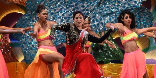 Bollywood actress Madhuri Dixit performs on stage during the fourth and final day of the 15th International...