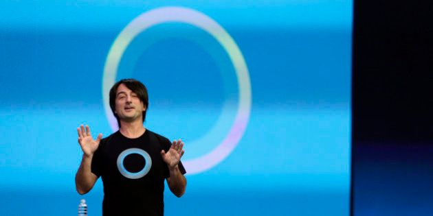 Microsoft corporate vice president Joe Belfiore, of the Operating Systems Group, gestures while demonstrating...
