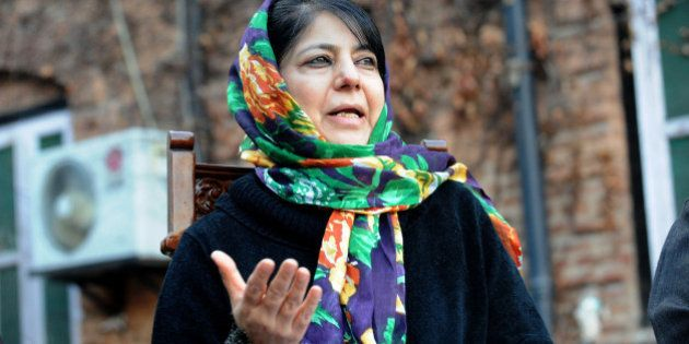 Kashmir's People's Democratic Party (PDP) President Mehbooba Mufti addresses a press conference on the...
