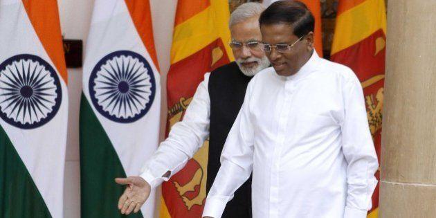 NEW DELHI, INDIA - FEBRUARY 16: Prime Minister Narendra Modi and Sri Lankan President Maithripala Sirisena...