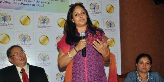 Indian Bollywood actress (R) Rati Agnihotri speaks at a press conference with actress Smita Jaykar and...