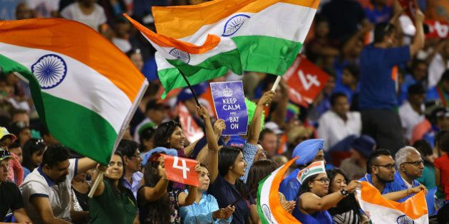 PERTH, AUSTRALIA - MARCH 06: Indians fans show their support during the 2015 ICC Cricket World Cup match...