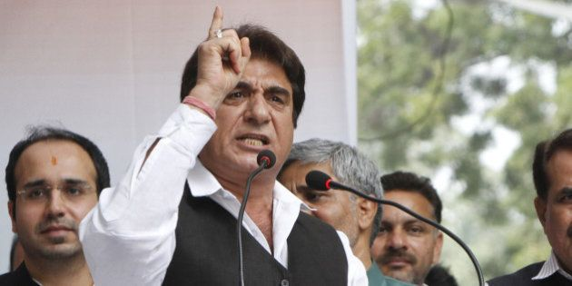 NEW DELHI, INDIA - FEBRUARY 25: Congress leader Raj Babbar addressing the gathering during a protest...