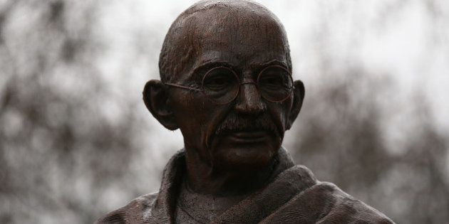 LONDON, ENGLAND - MARCH 16: A statue of Indian independence leader Mahatma Gandhi is pictured in Parliament...