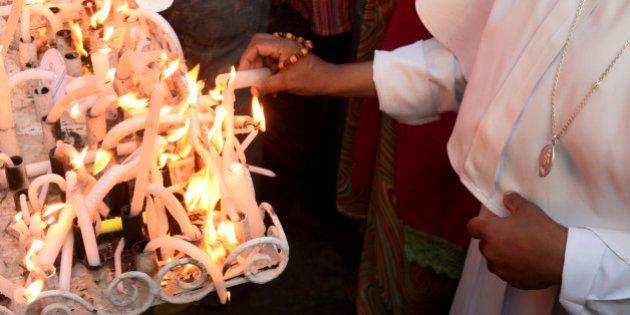 KOLKATA, INDIA - 2015/03/17: Christian community of Kolkata led by the Roman Catholic Archdiocese of...