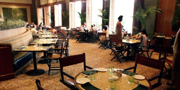 Very few guests are seen eating in the Machan restaurant of Taj Mansingh Hotel in New Delhi, India, in...