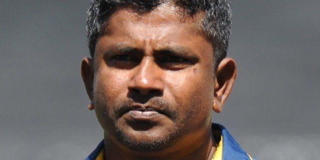 Sri Lanka's Rangana Herath during the Pool A 2015 Cricket World Cup match between Sri Lanka and Bangladesh...