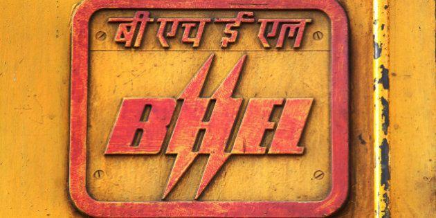INDIA - JANUARY 28: Bharat Heavy Electrical Limited logo displayed on an AC/DC locomotive train engine...