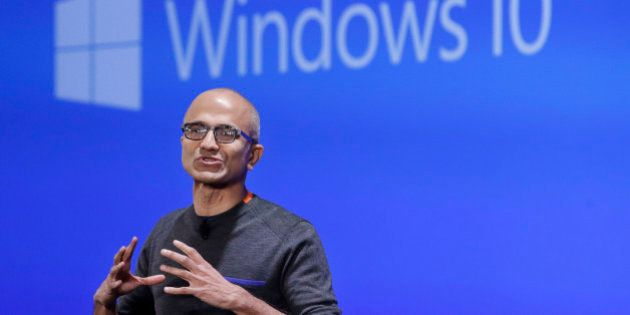 Microsoft CEO Satya Nadella speaks at an event demonstrating the new features of Windows 10 at the company's...
