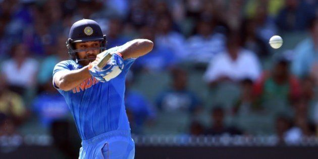 Indian batsman Rohit Sharma pulls a ball away from the Bangladesh bowling during their 2015 Cricket World...