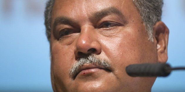 Narendra Singh Tomar, Indian Minister of Mines and Steel, speaks on the third day of Africa's biggest...